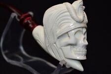 King Tut,Egyptian Pharaoh Skull Pipe,block Meerschaum New W Case#542