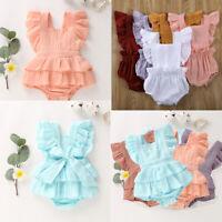 Kids Baby Girls Summer Clothes Princess Sleeveless Ruffle Dress Romper Outfits