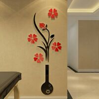 Removable 3D Flower Vase Mirror Wall Art Sticker Home Room DIY Decal Mural Decor