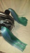 """SEAFOAM  .2 Pigtails  Motorcycle, Bike, Skate..Helmet Hair  14"""" JADE & TURQUOISE"""