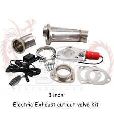 "Kylin 3"" Electric Exhaust+Remote Downpipe Cutout E-Cut Out Valve System Kit Red"