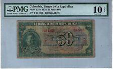 COLOMBIA NOTE BANCO DE LA REPUBLICA $50 ORO 1928 PICK# 375 b PMG VERY GOOD 10