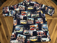 Reyn Spooner Mens XL Hawaiian Shirt Classic Car Show Trucks Button Up Spun Rayon