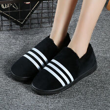 Chunky Women's Slippers 3.5-4 Black white stripes Warm Shock-absorption rounded