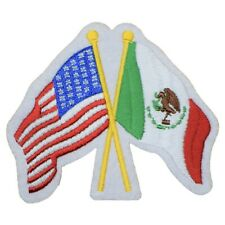 """USA and Mexico Patch - United States Mexican Flags Badge 3-3/8"""" (Iron on)"""