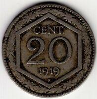 1919  ITALY 20 CENT  NICE WORLD COIN