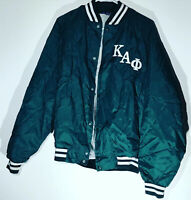 Vintage Fraternity 80s Kappa Alpha Bomber Jacket Satin Green EXCELLENT