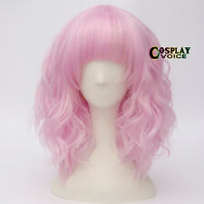 Lolita Pink 35cm Curly Short Party Women Anime Heat Resistant Cosplay Wigs+Cap