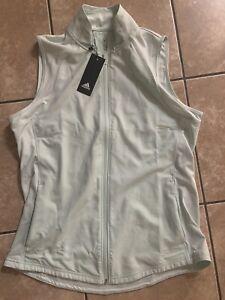 NWT $70 Adidas Golf L Women Full Zip Vest Dash Green