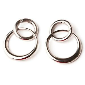Double Round Silver Surgical Steel  Hanger, Ear Weights Fits sizes 5mm+ (4GA+)