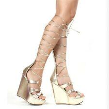 Women High Heel Wedge Sandals Ankle Strappy Roma Peep Toe Platform Shoe Clubwear