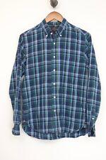 Beams Japan Mens Shirt S Navy Green Light Blue Button Down Collar Long Sleeve