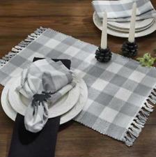 Set of 4 Park Designs WICKLOW Placemats -  Dove Gray, Winter White Buffalo Check