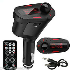Car Kit FM Transmitter WMA MP3 Player LCD Red Light USB SD MMC + Wireless Remote