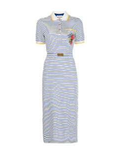 Size M *Receipt* NWT Tory Burch Striped Midi Polo Dress Logo Buckle Waist GIFT