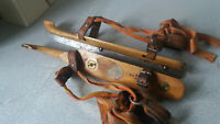 LOVELY VINTAGE PAIR WOODEN SPEED SKATES- J, NOOITGEDAGT - 15 INCH