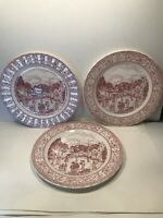 3 CORONA DINNER PLATES ''MAINVILLE ROSE'' 10 7/8''