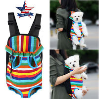 Small Pet Cat Puppy Dog Carrier Front Pack Hiking Backpack Head Legs Out Rainbow