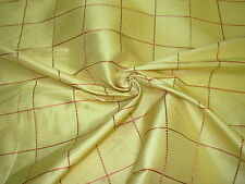 """~16 YDS~""""PLAID """"DAFFODIL~EMBROIDERED SILK DRAPERY UPHOLSTERY FABRIC FOR LESS~"""