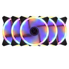 5Packs PC Case Cooling 4-Color LED Loop Fan 120mm 4pins/3pins 12V DC 1100RPM