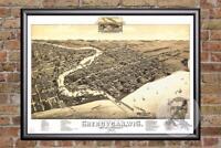 Vintage Sheboygan, WI Map 1885 - Historic Wisconsin Art Old Victorian Industrial