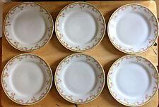 Z Scherzer Porcelain China 6 Salad Plates Pink Roses 8709 Bavaria Germany