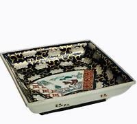 """Vtg Hand Painted Gold Imari Black Gold Landscape Scene Pedestal Dish 2.25""""H 8""""W"""