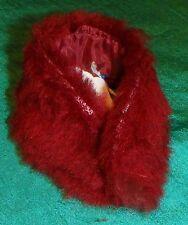 Maroon Thin FauxFur Stole w Red Nylon Lining Barbie & Teen Skipper Doll C396
