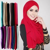 JERSEY STRETCHY HIJAB LARGE PLAIN LYCRA MAXI SCARF SHAWL WRAP WARMP TOP QUALITY