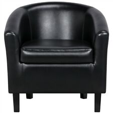 Pvc Leather Barrel Chair Contemporary Style For Living Room Black (Renewed)