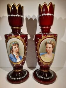 Pair of Antique Moser cased 19th century Hand made  Portrait vases.
