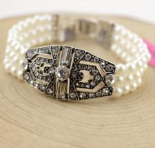 Jewelry Fashion Betsey Johnson Enamel Rhinestone Double layer pearl Bracelets