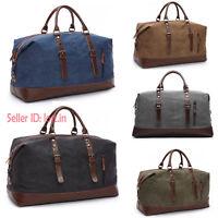 Men's Leather Canvas Travel Luggage Shoulder Handbag Duffle Bag Vintage Large