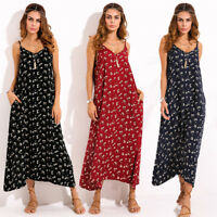 Plus Size ZANZEA Women Deep V Neck Sleeveless Summer Long Dress Clubwear Kaftan