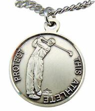 """Saint Christopher Round Sterling Silver Golf 15/16"""" Medal w/ 24"""" Chain USA Made"""