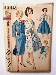 Vintage 1950s SIMPLICITY Sewing Pattern Dress w 2 Skirts + Jacket UNCUT Size 16