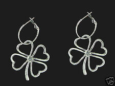 Trendy Silvertone Four (4) Leaf Clover Lucky Charm Earrings /Large