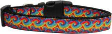 Dog Collar Pet Nylon Adjustable- Rainbow Waves - Medium - 25-45cm