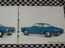 rare brochure VOLKSWAGEN KARMANN-GHIA 1200 + CABRIOLET / 1962 français couleurs