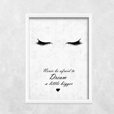 Dream eyes eyelashes sleeping PRINT ONLY a4 Gift Picture wall art bedroom