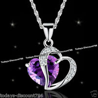 Purple Amethyst Crystal Heart Necklaces Love Gifts For Her Wife Mum Mother Women