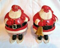VINTAGE CHRISTMAS SANTA ON SNOW SHOES PLASTIC CANDY CONTAINER 1 W/ BELL