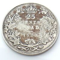 1929 Canada 25 Twenty Five Cents Quarter Silver King George V Canadian Coin G732