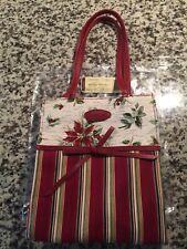 Longaberger Holiday Gift Bag in Holiday Stripe/Holiday Botanical