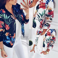 Women Zipper Floral Printed Long Sleeve Baseball Coat Casual Short Bomber Jacket