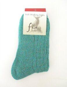 Fia - Irish Woolen Walking Socks - Merino Wool Blend  Size: Medium  Color: Green