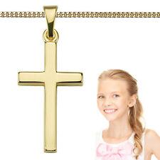 Kinder Kreuz Anhänger Echt Gold 333 zur Taufe Kommunion mit Silber verg Kette