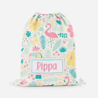 Personalised Flamingo Summer Girls Kids Drawstring Bag PE Swimming School Bag