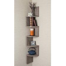 Oak Finish 5 Shelf Zig Zag Floating Wall Etagere Home Living Room Den Furniture