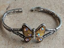 BRIGHTON Papillion Butterfly Bracelet Silver Plated Enamel Pink AB Crystals